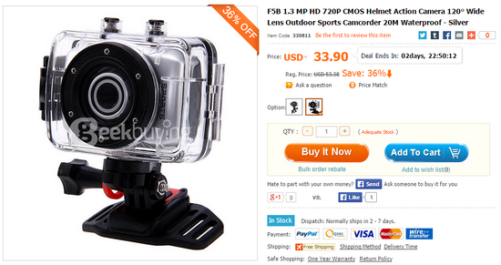 Action Cam F5B 1.3 MP HD