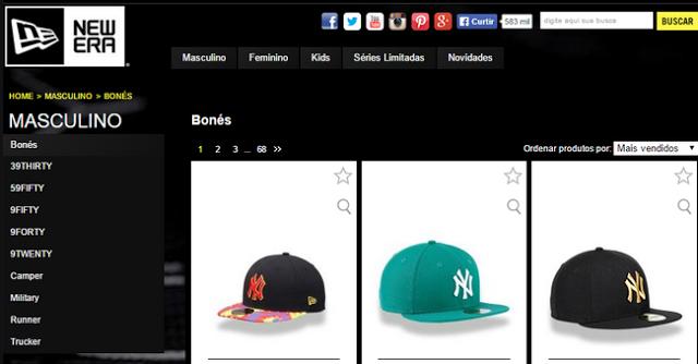 Loja oficial da NewEra no Brasil, bonés de aba reta, também tem gorros e chapéus