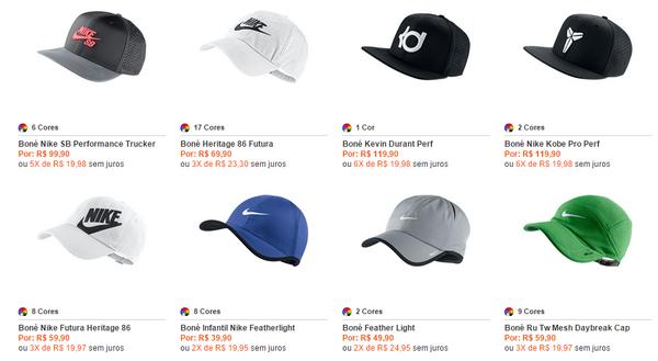 Loja oficial da NIKE no Brasil, bonés de vários estilos.
